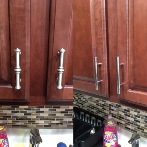 side by side photo of the old kitchen cabinet handles and the new handles