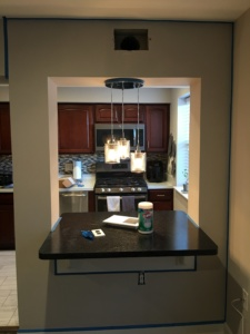 picture of dining area with painters tape