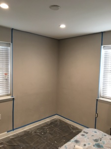 picture of bedroom wall with painters tape